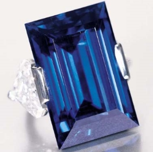 The Rockefeller Sapphire. Rectangular cut sapphire weights approximately 62.2cts. This famous blue baby was originally purchased by John D. Rockefeller in 1934. The Rockefeller Sapphire has been bought as sold at auction a handful of times, most recently going for over $3million to a private collector.