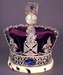 The Stuart Sapphire in the Imperial Crown. This famous sapphire weighs in at 104 carats and is set into the Imperial State Crown.