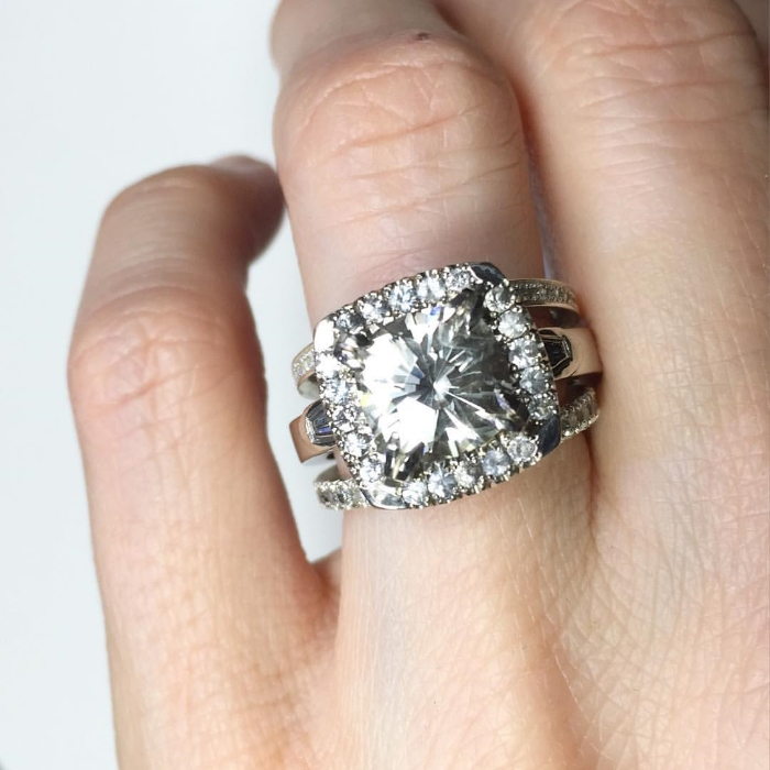 Styled here with two Gem Steady diamond eternity bands.