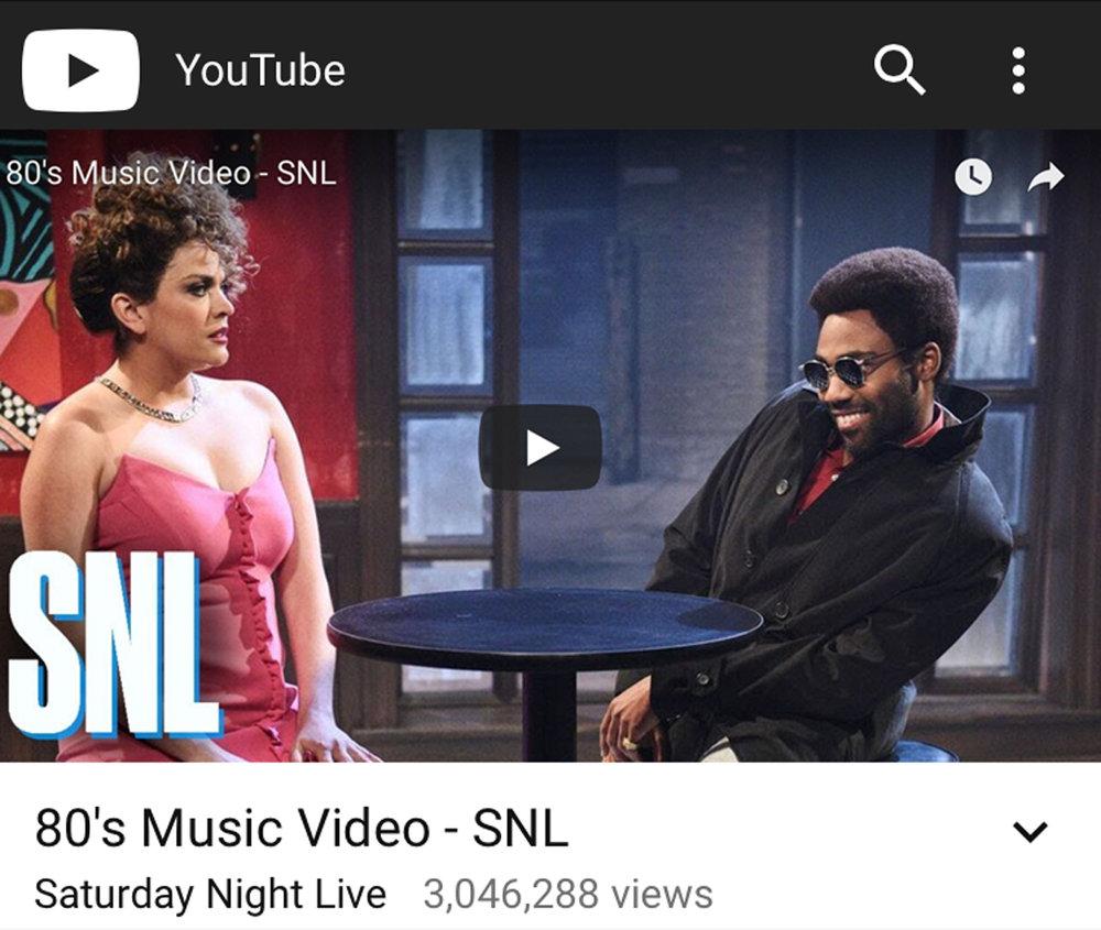 SNL MEDIA SATURDAY NIGHT LIVE SAM SHUTER SAMARA SHUTER PAINTING 2018 MAY CHILDISH GAMBINO DONALD GLOVER 80'S MUSIC VIDEO.jpg