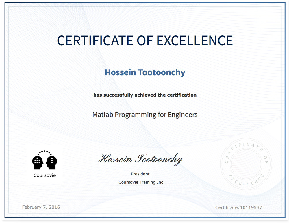 Coursovie Certificate Issued For Matlab Programming Course.