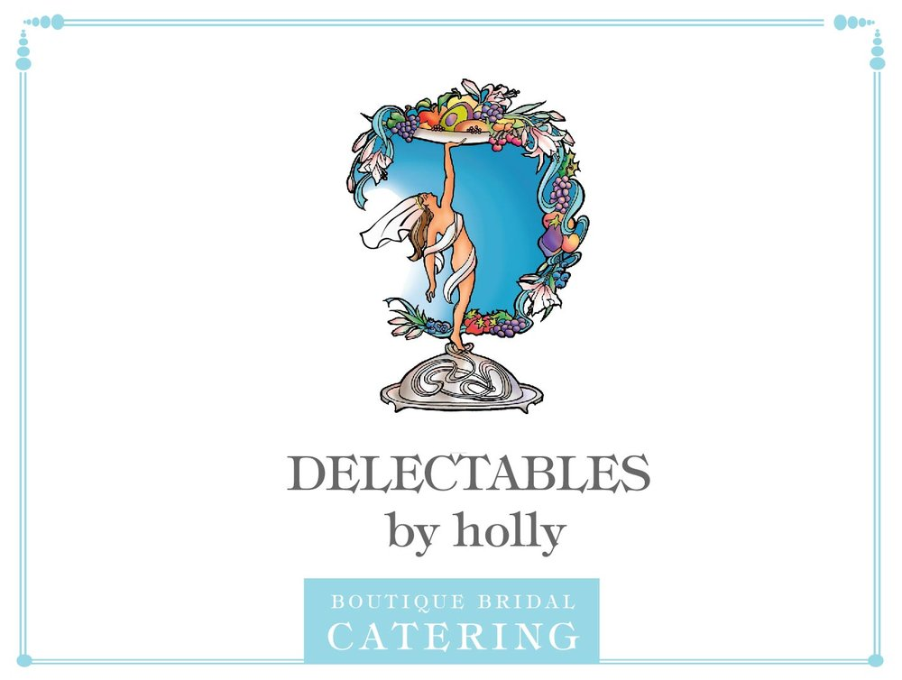 graphic designer, jenni chandler, catering menu, wedding catering, delectables by holly