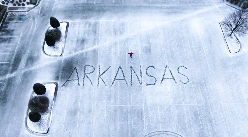 Last snow of the 2019 season in Arkansas (shot from a drone)