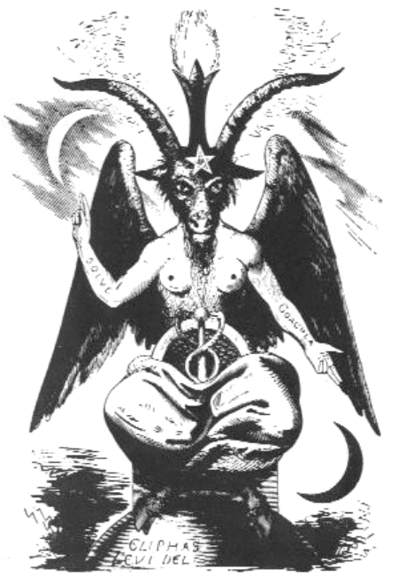 "Baphomet  by Eliphas Levi, French occultist...note ""SOLVE"" and ""COAGULA"" inscribed on his arms.."
