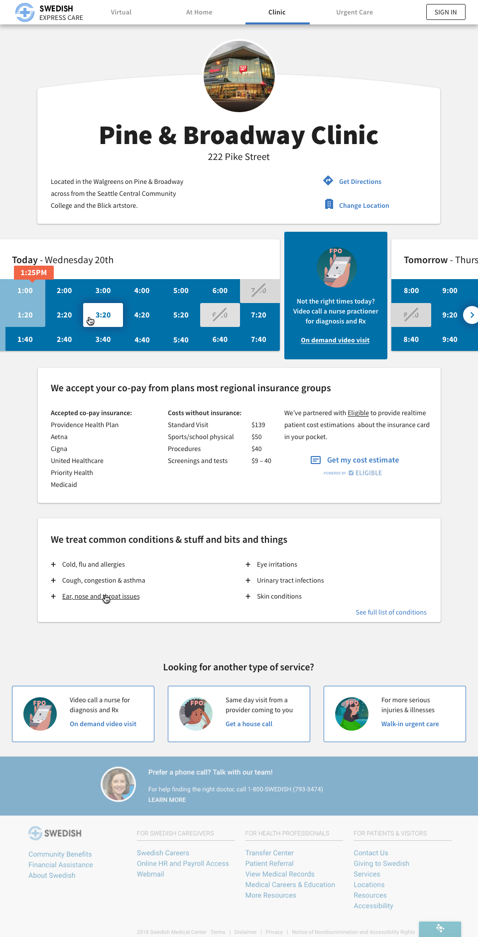 A clinic location page with appointment time selection, symptom triage, insurance coverage and costs,