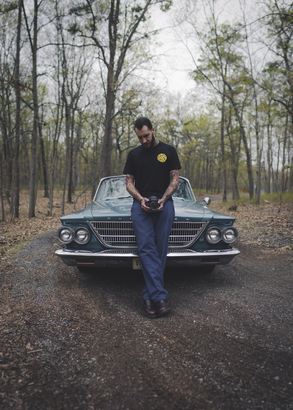 Myself with my 1963 Chrysler and one of my favorite cameras, my 1975 Mamiya M645 with a 150mm f/2.8