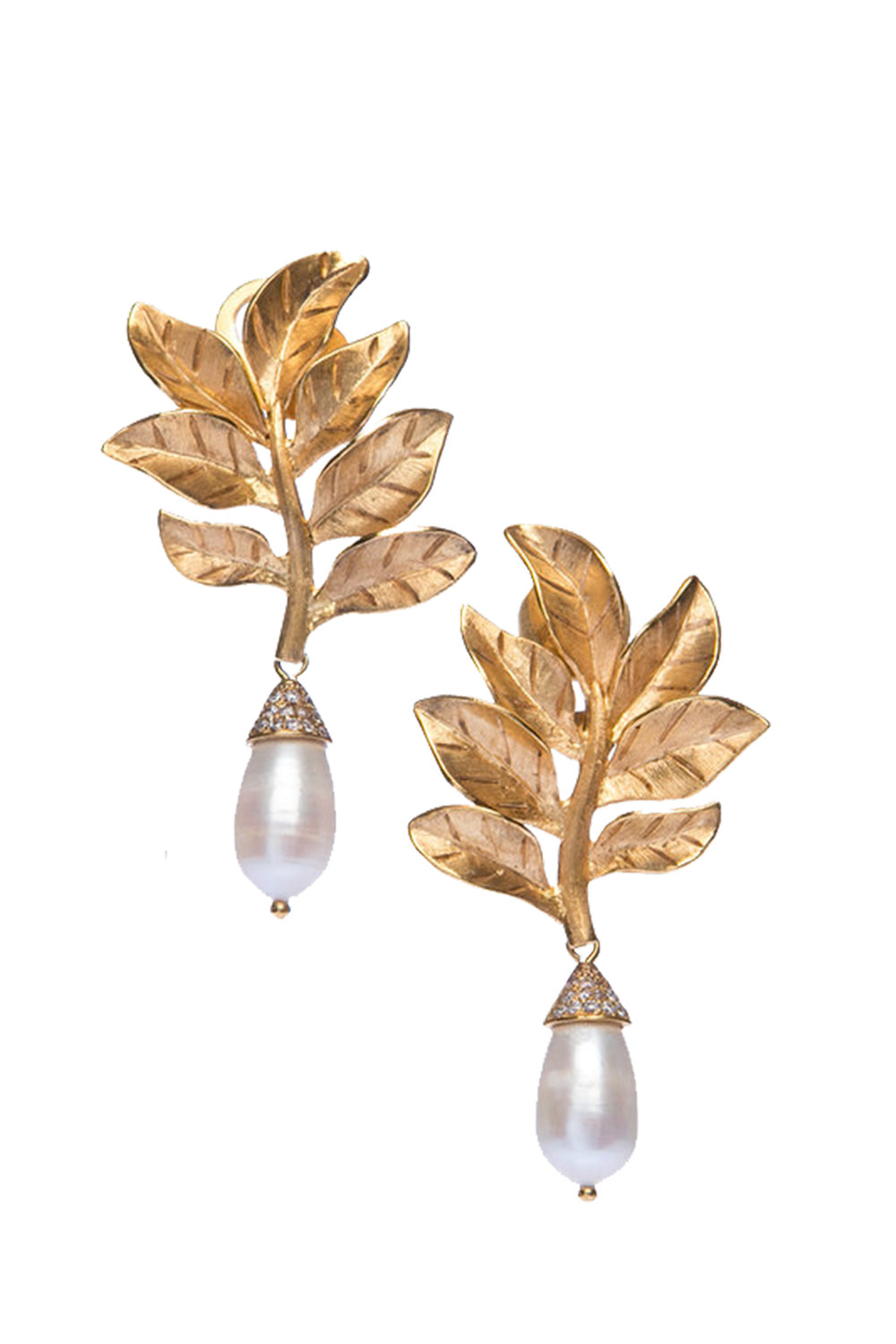Gold Leaf Baroque Pearl Drop Earrings Pamela Dutton Collection