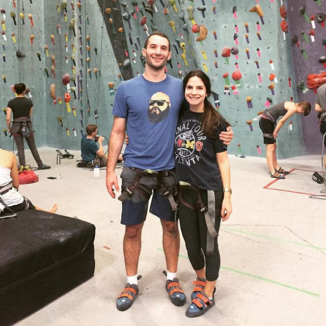 Two 🐟 out of water at the rock climbing gym