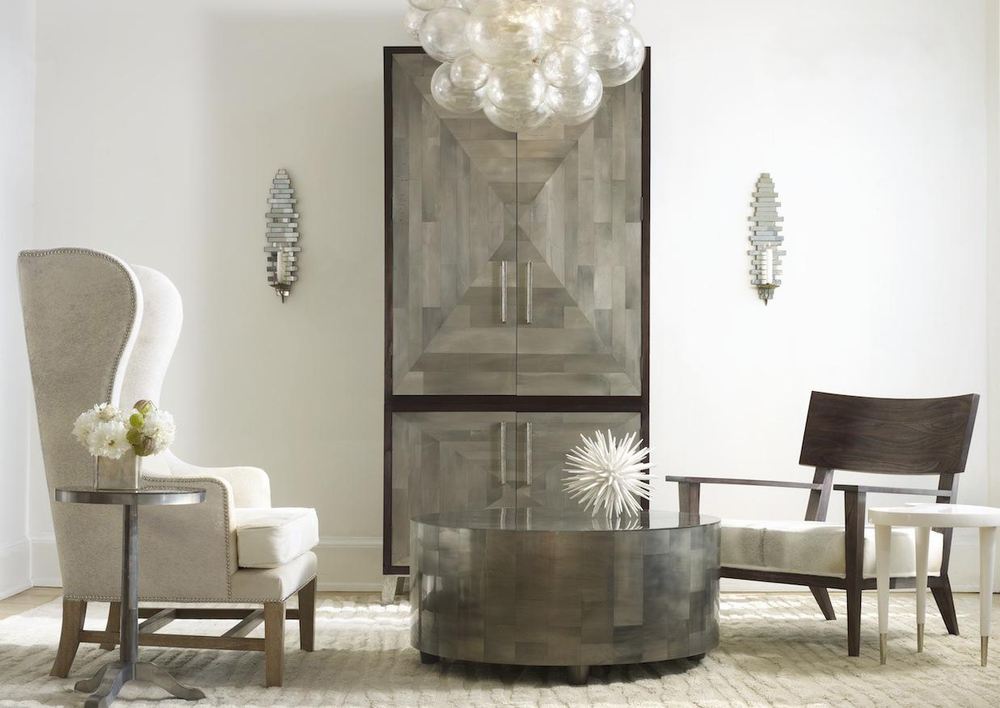 PARKER ROOM FEATURING: Adeline Side Table, Large Adeline Cocktail Table, Parker Armoire, Guy Chair with custom gray cowhide seat, Muriel Chandelier