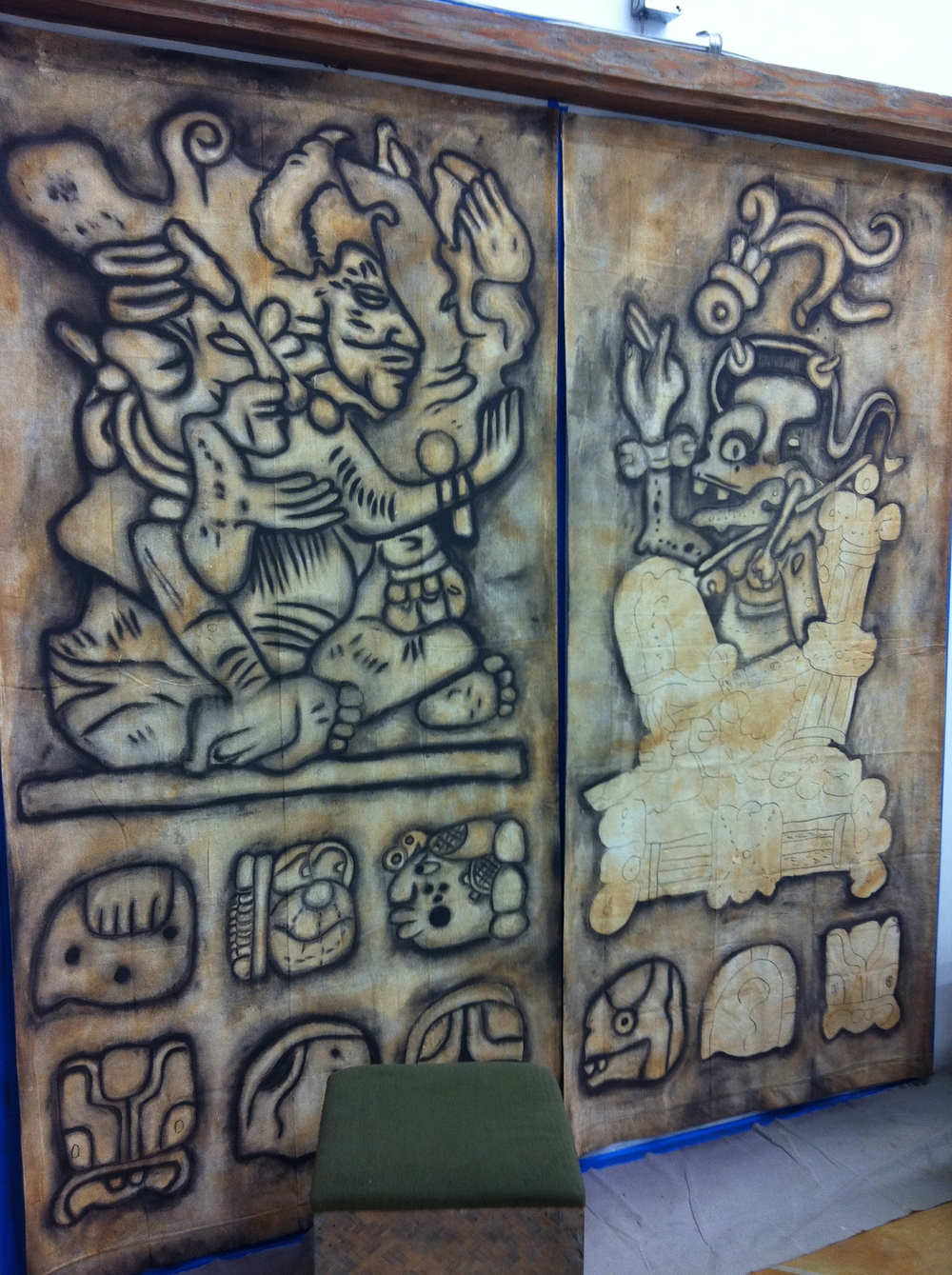 Mayan Paintings on Canvas (2@4'x8') by Matthew McAvene.jpg