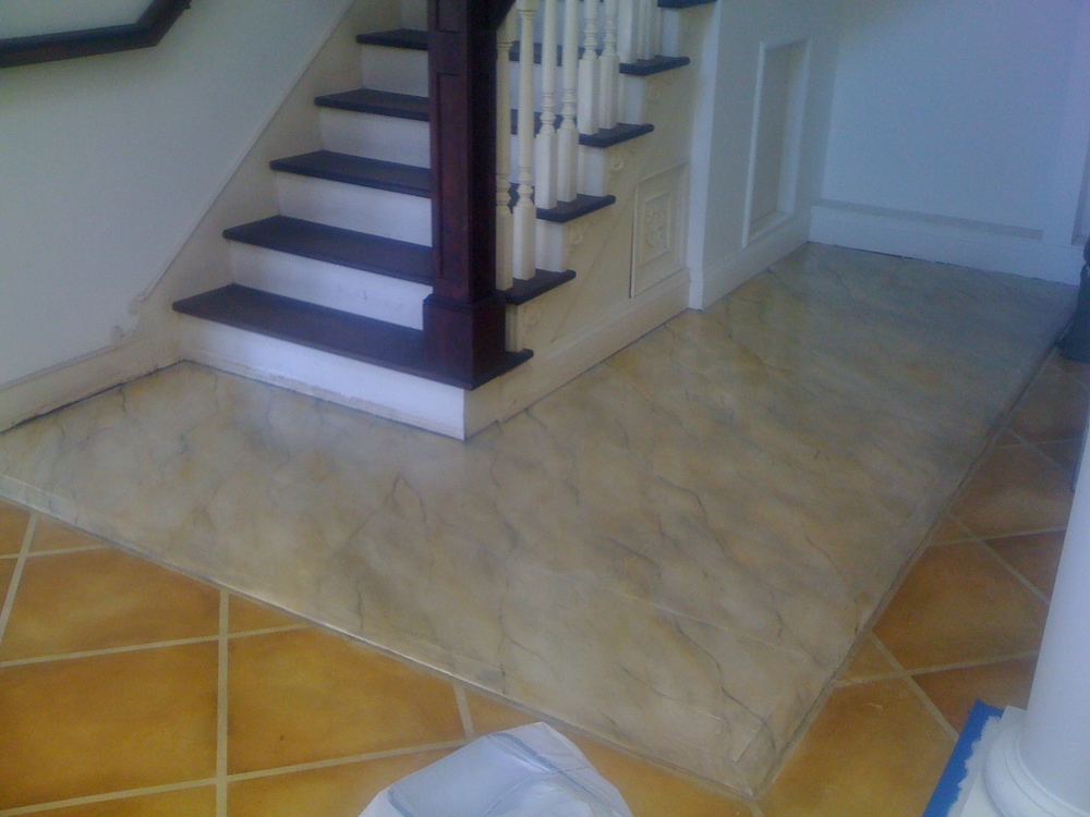 Faux Marble and terracotta Tile Floor on Wood & Concrete by Matthew McAvene.JPG