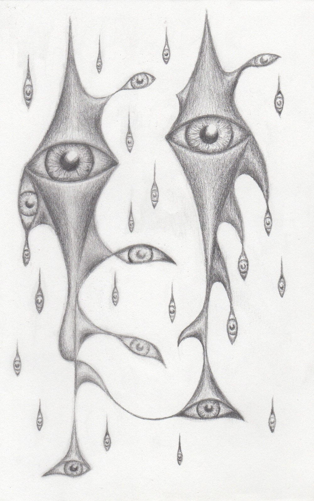 "'Eye Rain' Pencil on Paper 5.5"" x 8"""