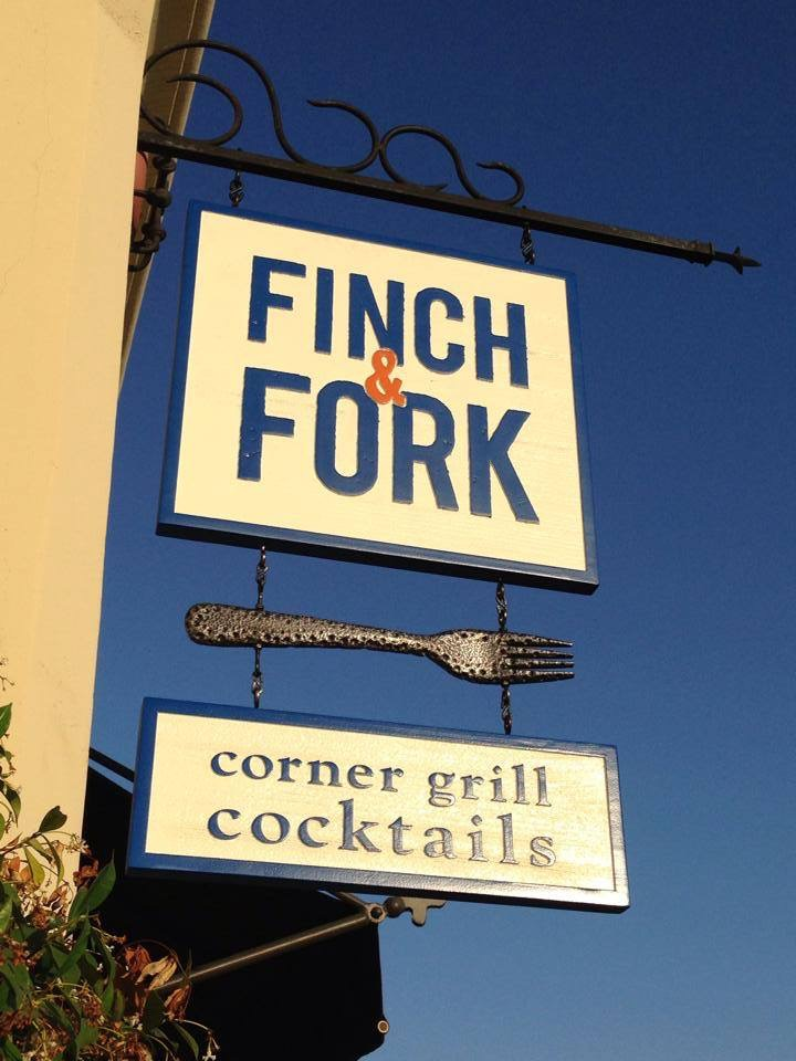 Fork Sculpture by Matthew McAvene, Sign by Santa Barbara Signs