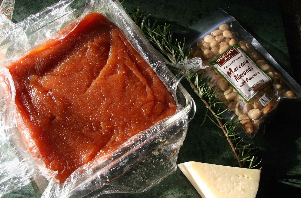 Membrillo or quince pasted in pan with appetizer ingredients