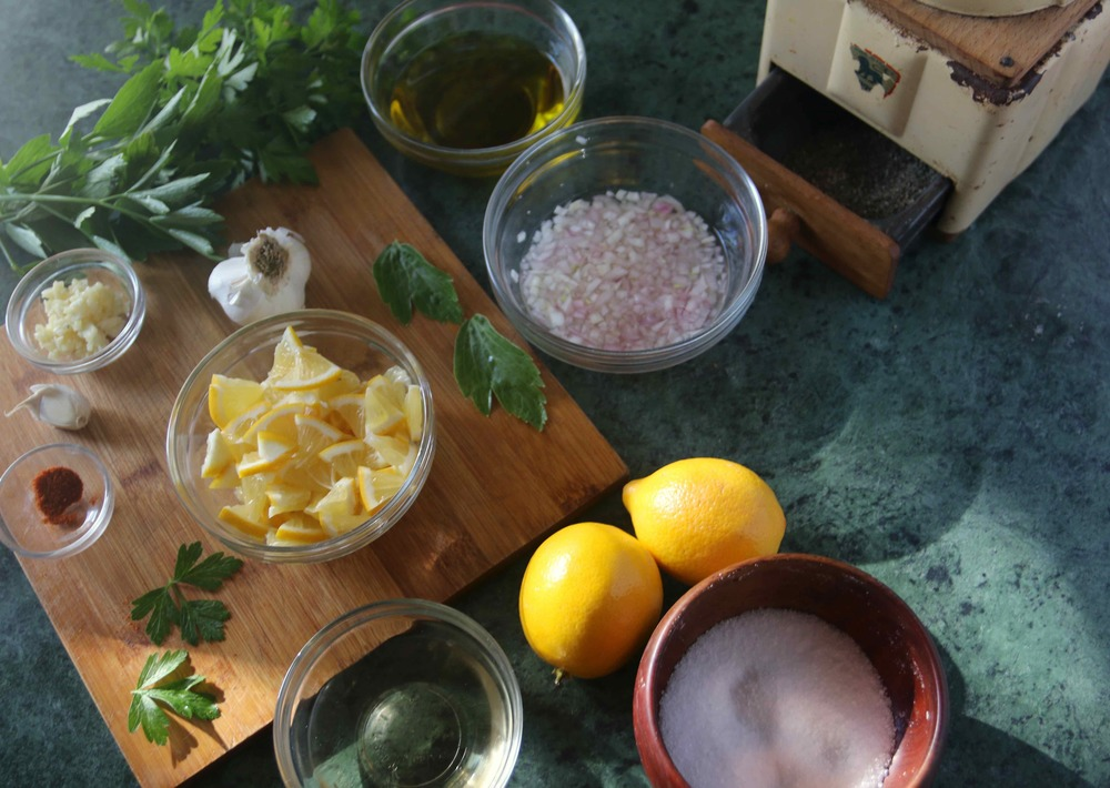 Ingredients for Meyer lemon relish