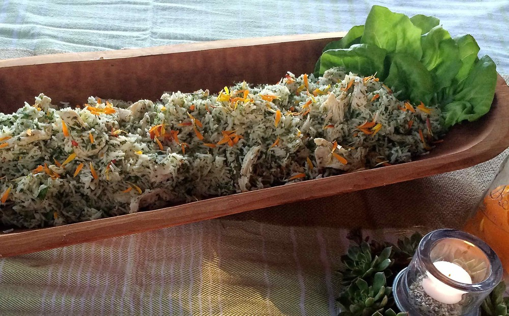 Sweet Herbs with Rice, Chicken and Calendula Petals