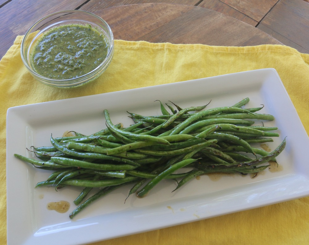 Charred green beans with Lemon Verbena and Lemon Balm Pesto