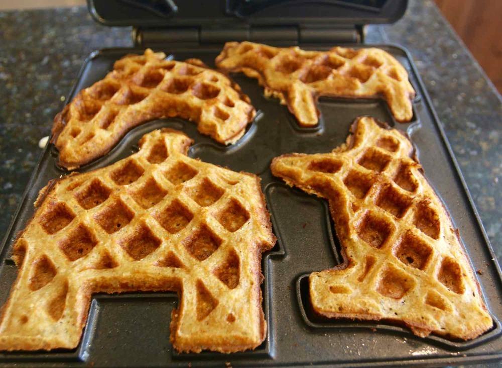 Waffle all ready in waffle iron