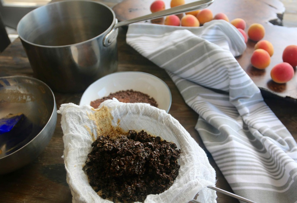 Making Gelato - strained espresso beans