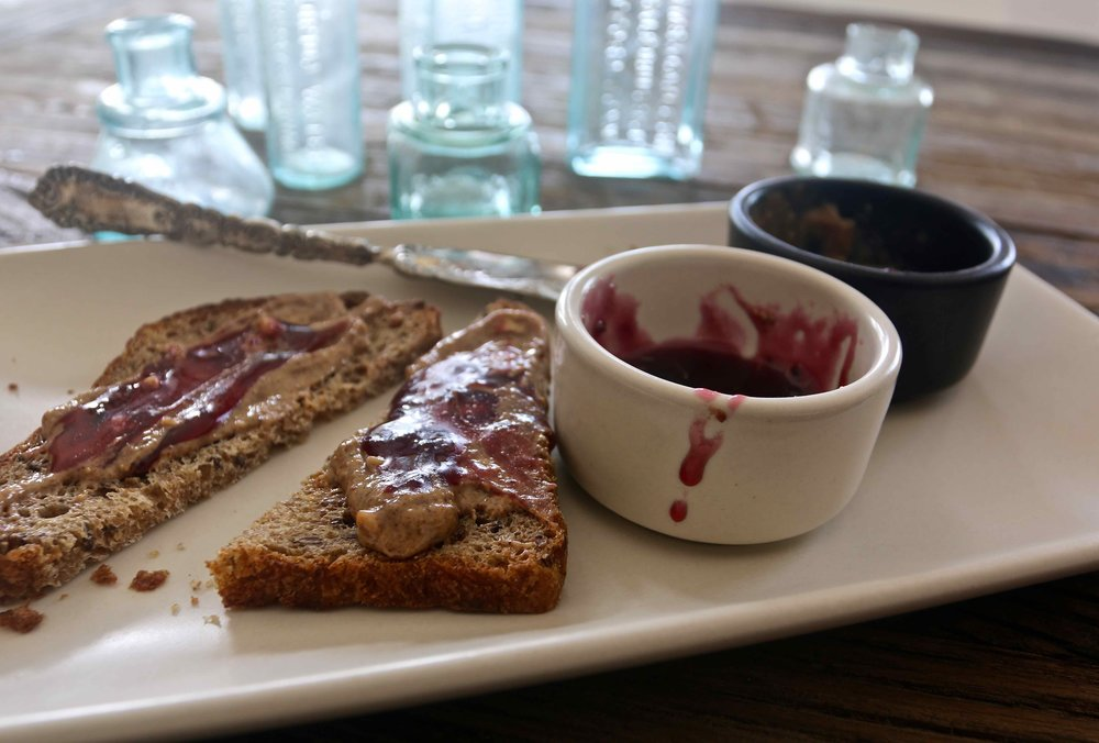 Concord grape jam on toast