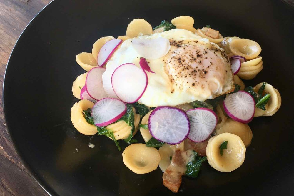 Easter egg radishes and greens with orecchiette