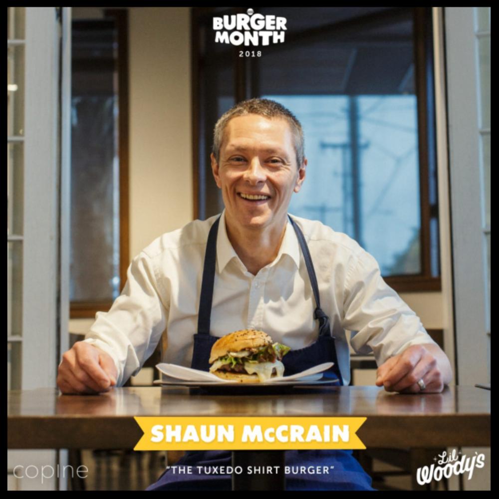 "Lil Woody's   January 2018  ""#SeattleBurgerMonth:Shaun's Burger: The Tuxedo T-Shirt Burger"""