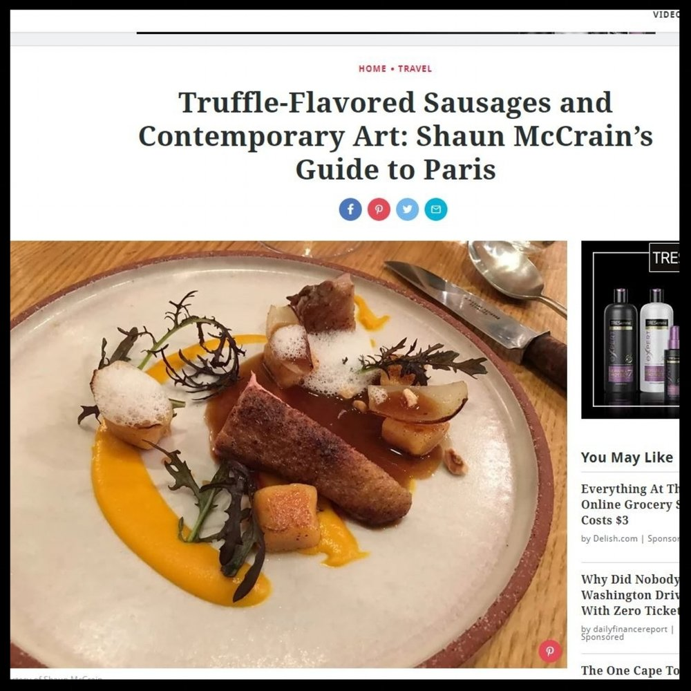 "Food & Wine Magazine   November 2017  ""Truffle-Flavored Sausages and Contemporary Art: Shaun McCrain's Guide to Paris"""
