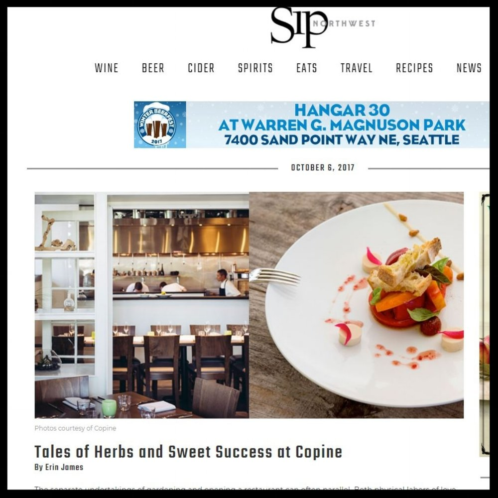 """Sip Northwest Magazine October 2017 """"Tales of Herbs and Sweet Success at Copine"""""""