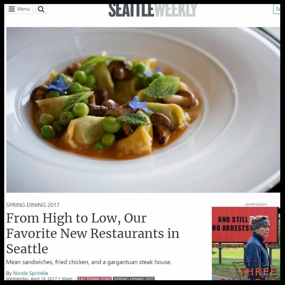 "Seattle Weekly   April 2017  ""From High to Low, Our Favorite New Restaurants in Seattle"