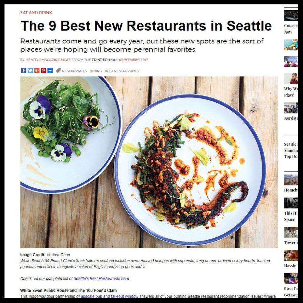 "Seattle Magazine September 2017 ""The 9 Best New Restaurants in Seattle"""