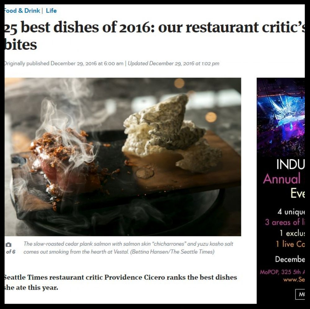 "Seattle Times   December 2016  ""25 best dishes of 2016: our restaurant critic's favorite bites"""
