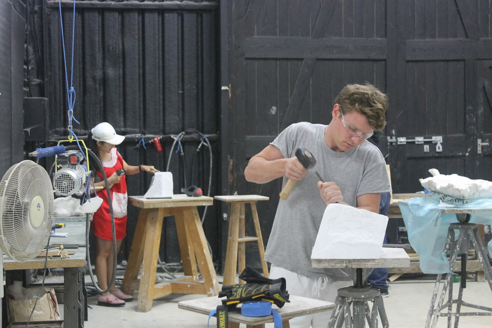 Students practicing chisel technique at the Wiltshire Workshop 2015.