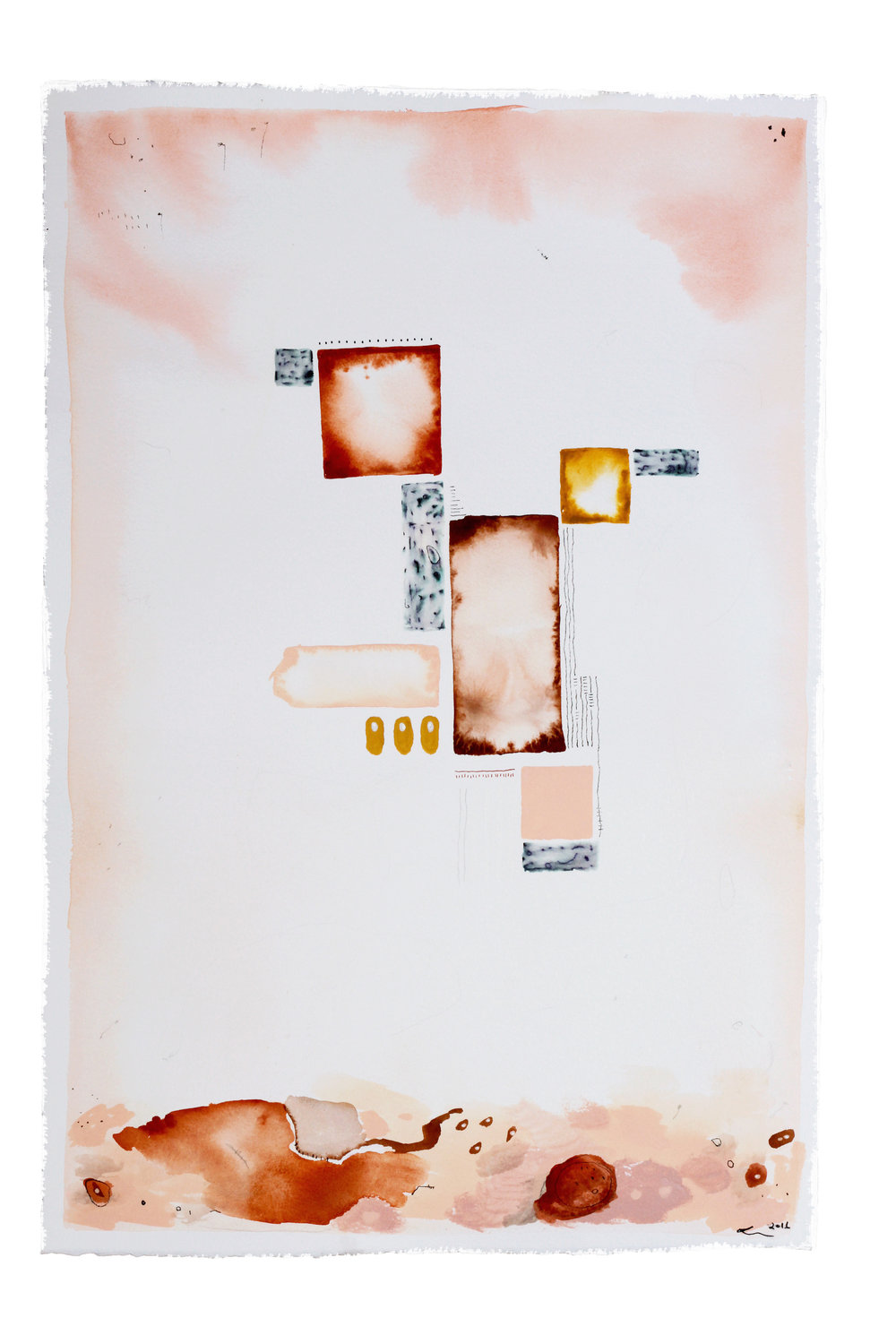 broken biscuits. cold tea (motherhood), 2016. watercolour, gouache, acrylic, crayon, pen and pencil on paper. (sold)