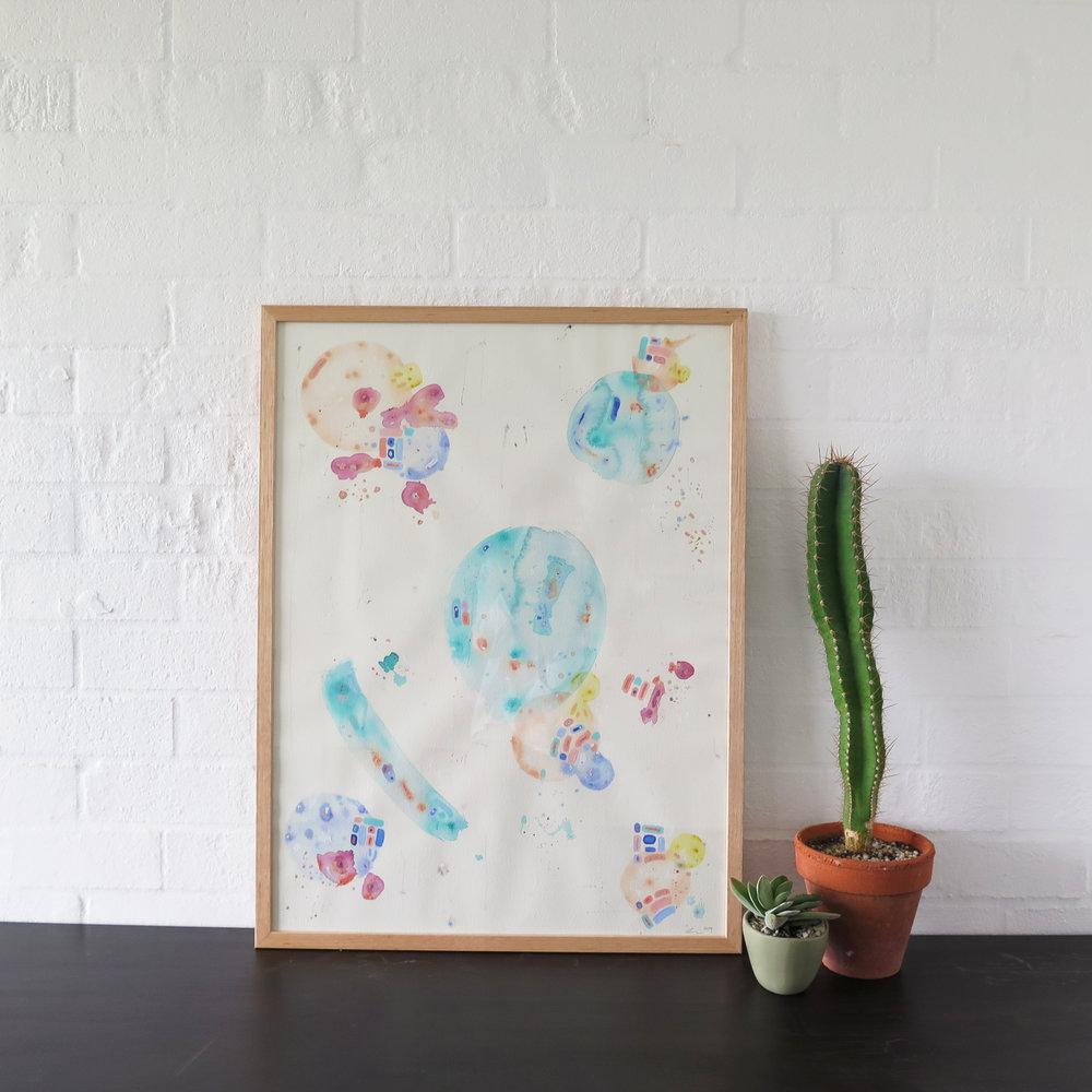Ken 1989 , 2014, acrylic, gouache, crayon, pen & pencil on paper, 80 x 60cm