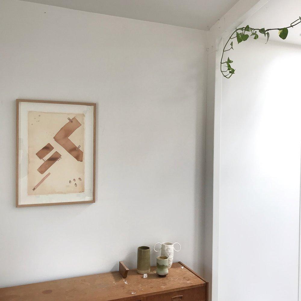 House Plans (kitchen view), 2016, 52cm x70cm, Tasmanian oak frame.