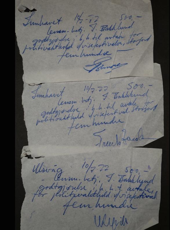 POLITI-BILAG: Noen ganske små bilag med utkvittert honorar for vakthold. Men summen av regningene for politivakthold ble en tung utgiftspost for Troilltampen. (Foto: Trolltamp.com)