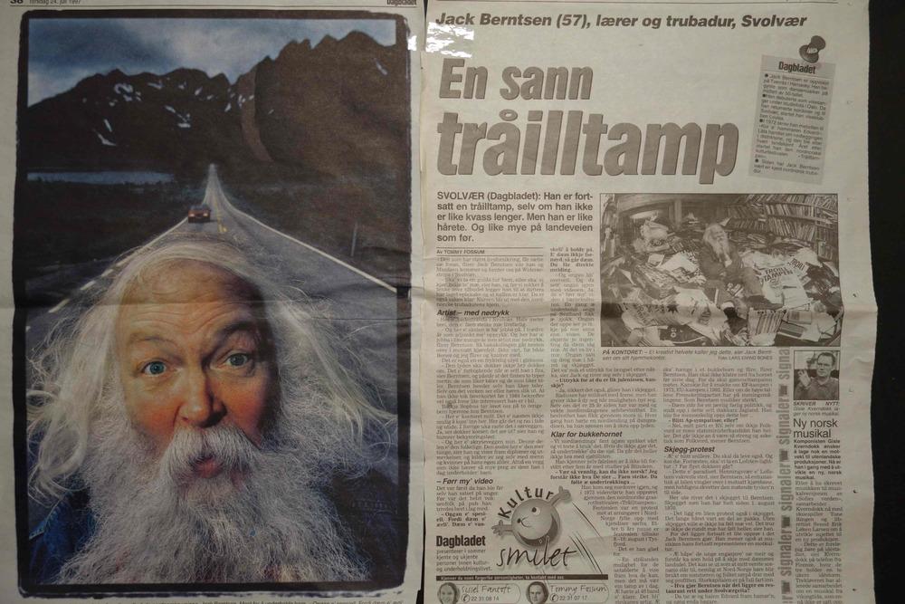 """FAKSIMILE av Dagbladets reportasje om Jack Berntsen i juli 1997. Møtet med Berntsen fikk avisen senere til å omtale han som """"Nord-Norges kuleste mann""""."""