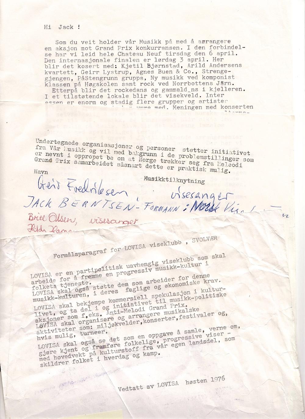 OPPROP: Underskriftslister til protest mot Norges deltagelse i Melodi Grand Prix nådde også Lofoten, men aksjonen hadde sitt utspring i Oslo. (Foto/Arkiv: Trolltamp.com)