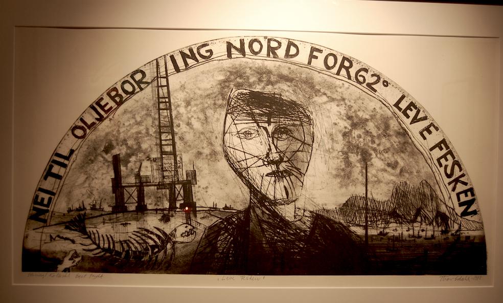 KLAR MENING: Kampen for kysten handlet også om olje versus fisk. Billedkunstneren Tor Erdahl uttrykte seg blant annet slik (Foto fra Galleri Lille Kabelvåg)
