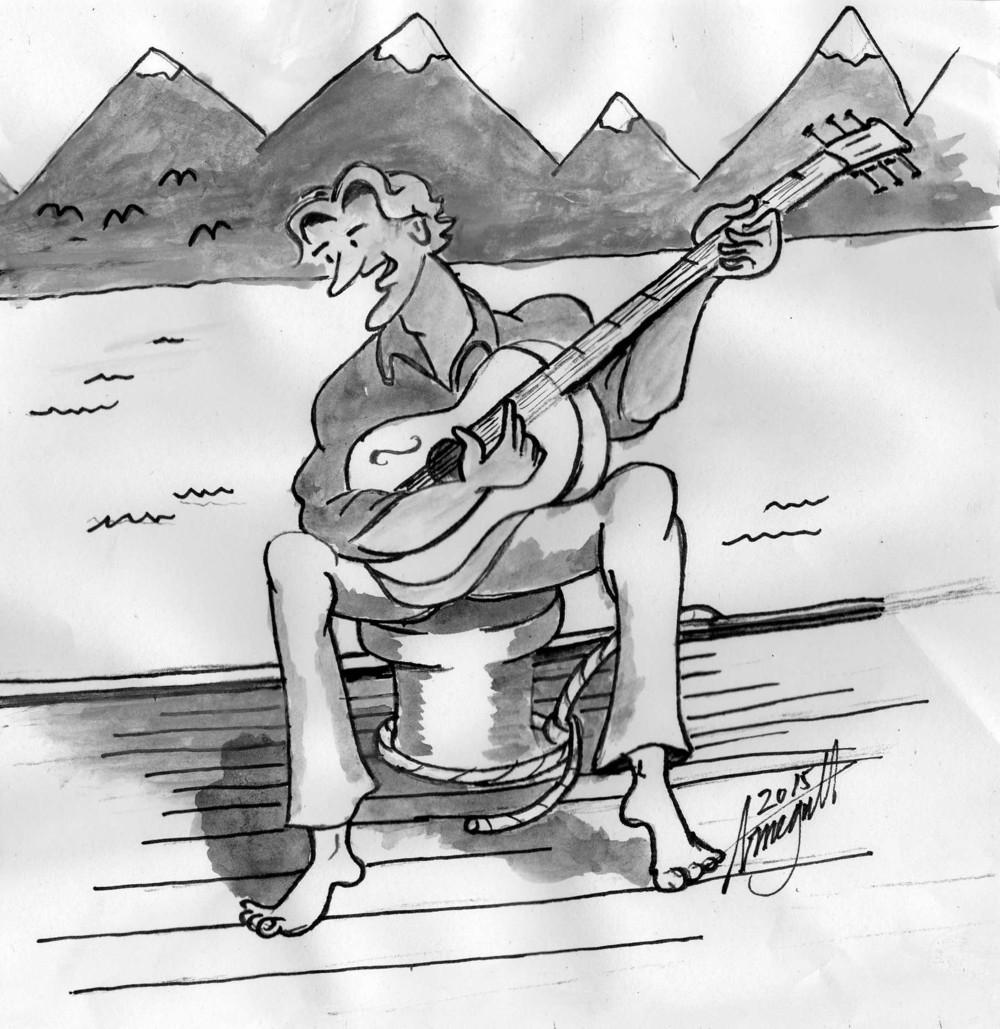 VISENS DAG: 12. mars kan bli fast festdag til ære for visekunsten, skriver artikkelforfatteren Billy Jacobsen. Her på en pullert hjemme i Lofoten. Tegning: Arne Jacobsen