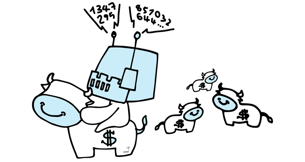 m&a-investment-banking-robotic-cash-cow-doodle