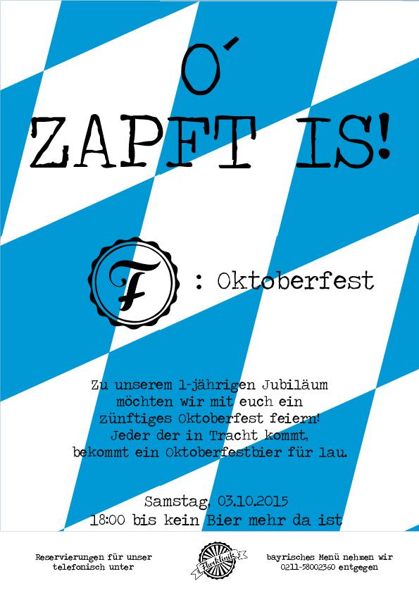 Wir möchten mit euch unser 1-jähriges Jubiläum mit einem Oktoberfest feiern!!! Neben Festbier, bayrisch angehauchtem Cocktail und Schnappes bieten wir euch ein zünftiges  3-Gänge-Menü für €27,50 p.P.an, das keine Wünsche offen lässt! Vorspeise: Leberknödelsüppchen mit Obatzda-Crostini Hauptspeise: Haxe mit Sauerkraut, Semmelknödel und Weißbiersauce Dessert: Kaiserschmarrn mit Zwetschgenkompott Um in den Genuss dieses Menüs zu kommen, bitten wir euch bis zum 01.10. telefonisch zu reservieren. Natürlich könnt ihr auch gerne a-la-carte bei uns essen oder einfach auf ein paar Krüge Weißbier vorbeischauen.. Der Clou: jeder von euch, der in Tracht kommt, bekommt ein lecker Bierchen umsonst.. Wir freuen uns auf einen schönen ausgelassenen Abend mit euch!!!          Euer FlurklinikTeam