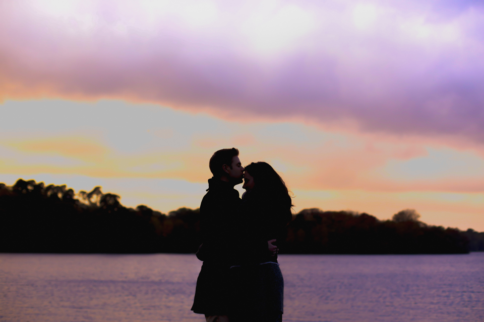 Katie and Chris - Virginia Water - Engagement Shoot - Beautiful Autumn colours, playing in the leaves, gorgeous sunset joined by two swans - read the whole story here