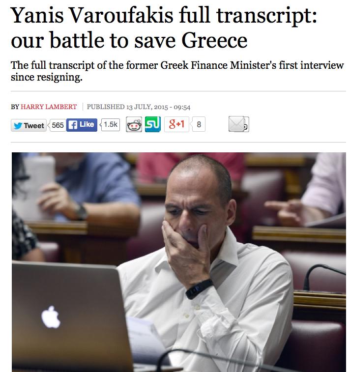 Intervju med Yanis Varoufakis i New Statesman.