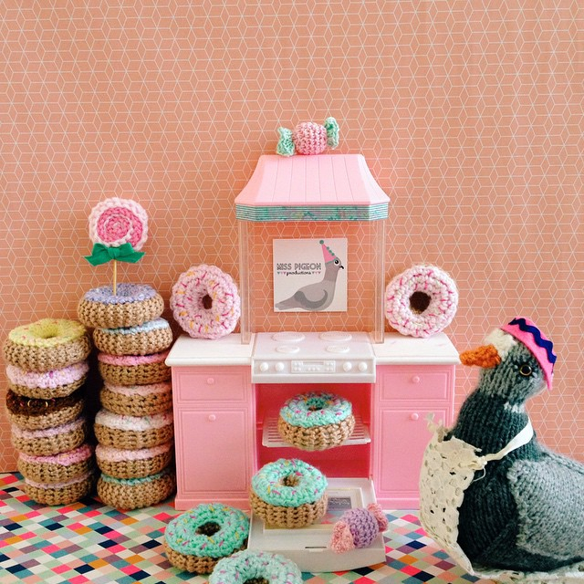 crochetdonutkidspartyminaturepigeonkitchen