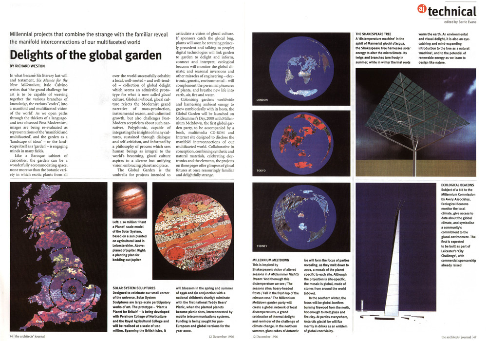 Article on ideas for celebrating the Millennium published in the Architects' Journal, 12.12.96.