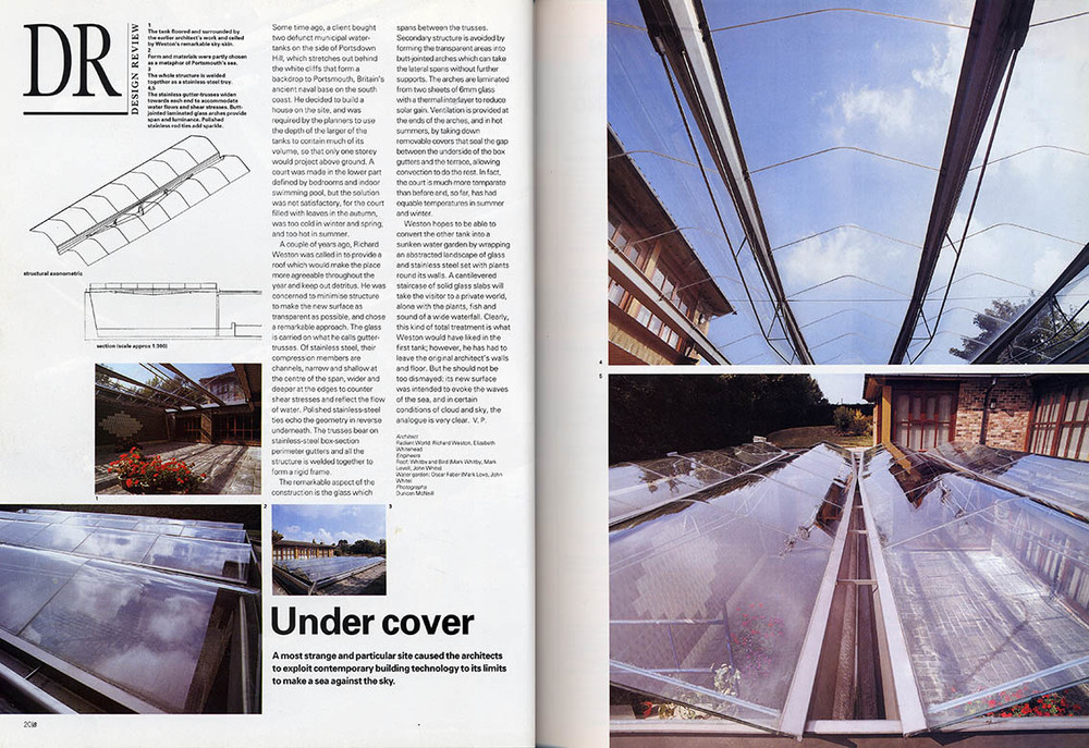 Feature in the Architectural Review about the glass roof in Hampshire.