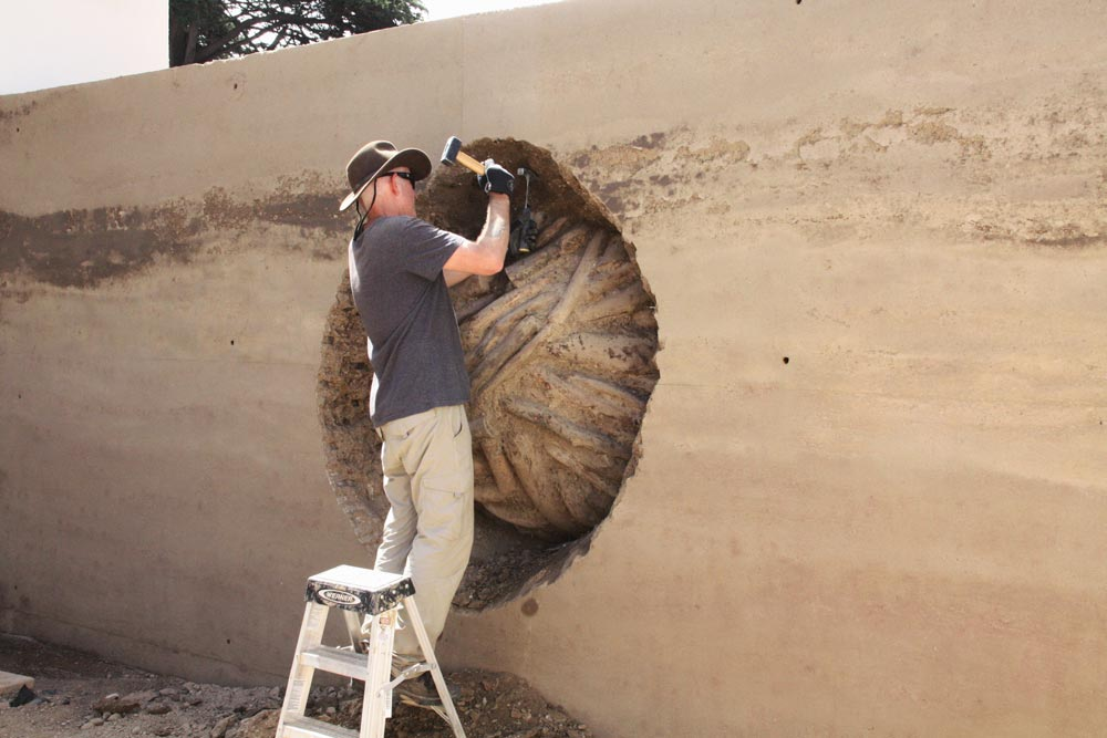 Andy digs out a ball of gnarled eucalyptus branches embedded inside a rammed earth wall.