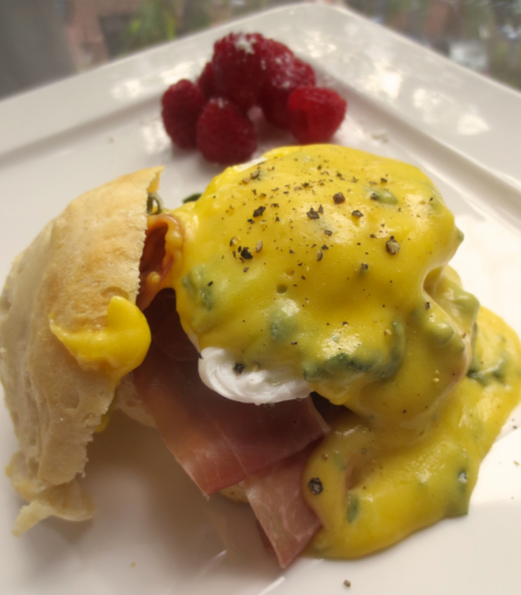 Prosciutto Sage Eggs Benedict