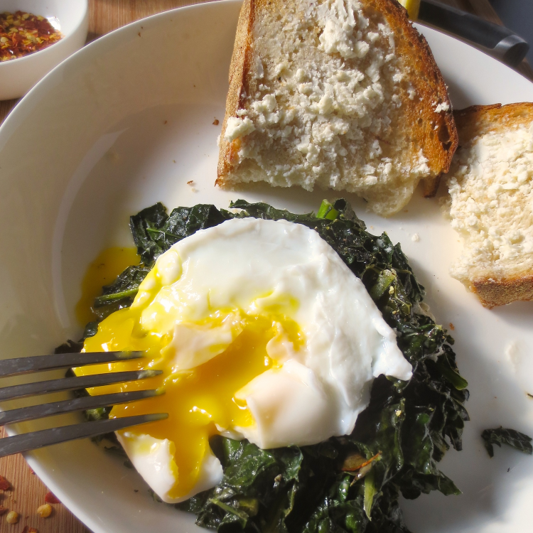Sauteed Kale with Creamy Poached Egg